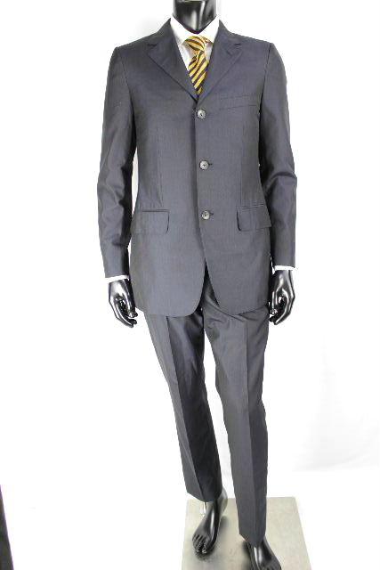 グッチ [ GUCCI ] 3つボタン シングル スーツ ネイビー 紺色 SIZE[46] メンズ ジャケット スラックスパンツ