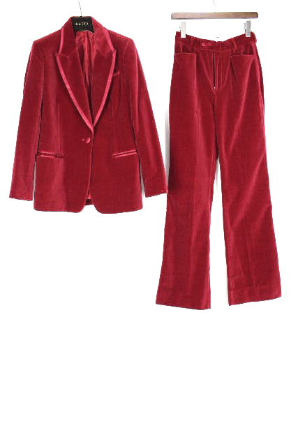 グッチ [ GUCCI ] ベロア セットアップ スーツ レッド 赤 レディース ジャケット パンツ