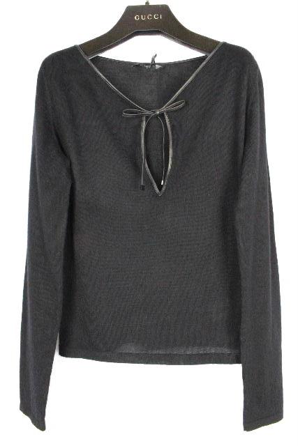 グッチ [ GUCCI ] リボン カシミヤ ニット セーター ブラック 黒 長袖 SIZE[M] レディース トップス