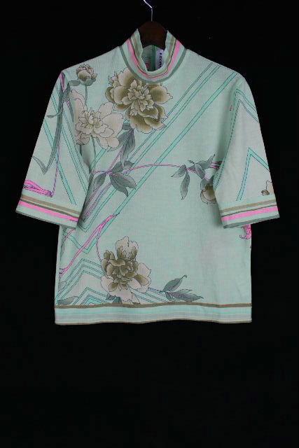 レオナール [ LEONARD ] ロゴ フラワー ニット カットソー グリーン系 半袖 SIZE[40] レディース トップス セーター 花柄