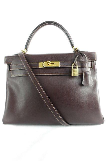 エルメス [ HERMES ] ケリー32 ボックスカーフ ブラウン×ゴールド金具 [D刻印] ハンドバッグ ショルダーバッグ バッグ