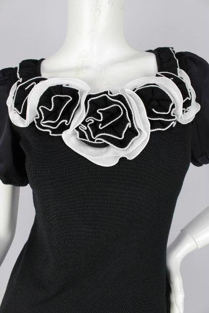 コトゥー [ COTOO ] フリル フラワー カットソー 半袖 黒 SIZE[38] レディース トップス プルオーバー ニット