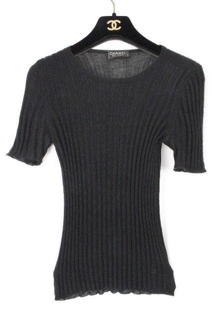 シャネル [ CHANEL ] カシミヤ ニットセーター 黒 半袖 SIZE[XS相当(目安)] レディース トップス  クルーネック ブラック