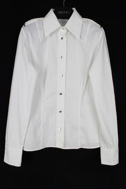 グッチ [ GUCCI ] ストレッチ シャツ ブラウス ホワイト 白 長袖 SIZE[38] レディース トップス