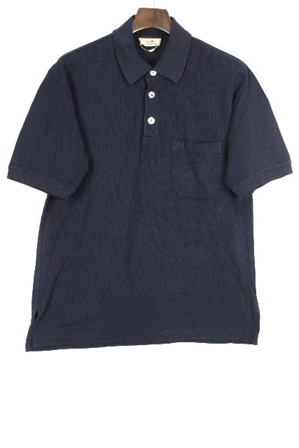 エルメス [ HERMES ] H刺繡 ポロシャツ ネイビー 紺色 半袖 SIZE[S] メンズ トップス