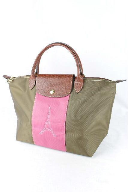 ロンシャン [ LONGCHAMP ] エッフェル塔 ル プリアージュ カーキ ピンク 刺繡 折り畳み トートバッグ