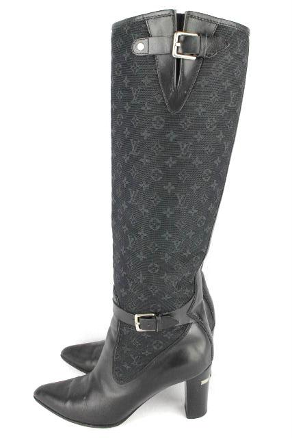 ルイヴィトン [ LOUISVUITTON ] ベルト モノグラム ロングブーツ 紺黒 SIZE[37] レディース  ブーツ ヴィトン ビトン