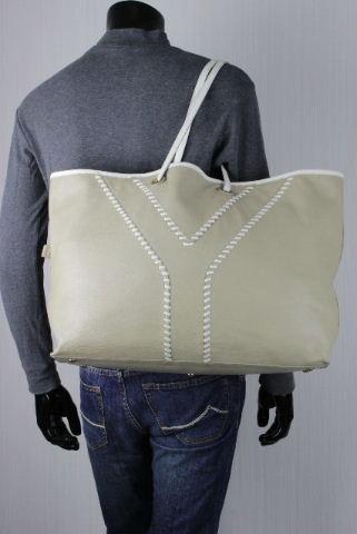 イヴ サンローラン [ SAINT LAURENT ] リバーシブル イージー トートバッグ ベージュ×白 メンズ レディース バッグ