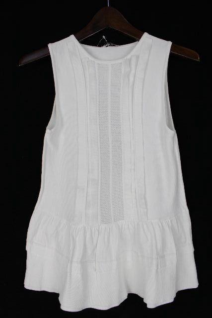 ミュウミュウ [ MIUMIU ] ノースリーブ フリルニット ホワイト 白 SIZE[40] レディース ノースリ フリルカットソー