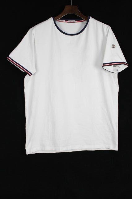 モンクレール [ MONCLER ] トリコロール カットソー SlimFit 白 半袖 SIZE[XXL] メンズ トップス Tシャツ
