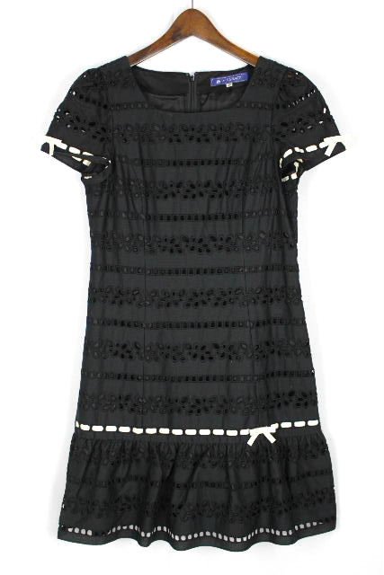 エムズグレイシー [ MS GRACY ] レース リボン フレアーワンピース 黒 SIZE[40] レディース ワンピ ブラック