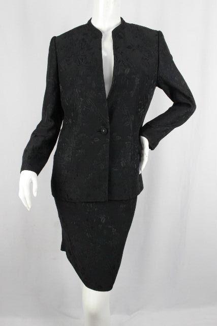ヴェルサーチ [ VERSACE ] メドゥーサ×フラワー スカート スーツ ブラック 黒 SIZE[42] レディース ノーカラージャケット 花柄