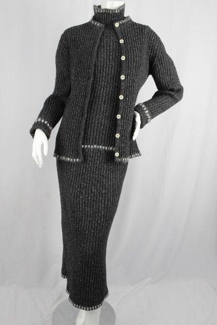 クリスチャンディオール [ Dior ] ニット 3点 セットアップ ワンピース グレー SIZE[L] ディオール アンサンブル カーディガン セーター スカート