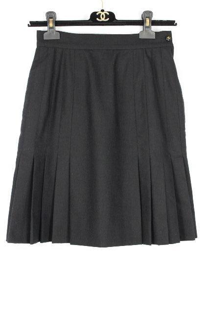 シャネル [ CHANEL ] ヴィンテージ ココマーク プリーツ スカート 黒 SIZE[36] レディース ボトムス フレアースカート
