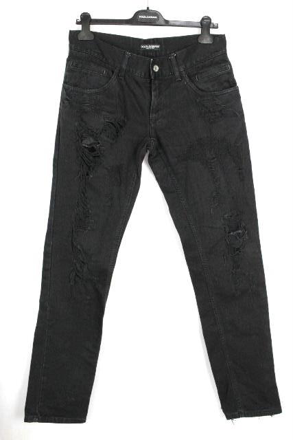 ドルチェ&ガッバーナ [ DOLCE&GABBANA ] クラッシュ ブラック デニムパンツ 黒 SIZE[46] メンズ ドルガバ ボトムス スキニーデニム ジーパン Gパン