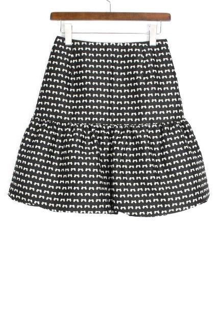 エムズグレイシー [ MS GRACY ] リボンプリント フリル フレアースカート 黒 SIZE[38] レディース ボトムス スカート