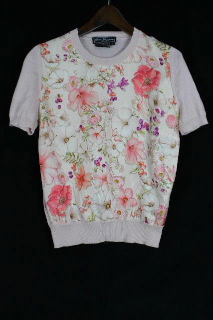 フェラガモ [ Ferragamo ] フラワー シルク ニット セーター ピンク 半袖 SIZE[S] レディース トップス カットソー 花柄