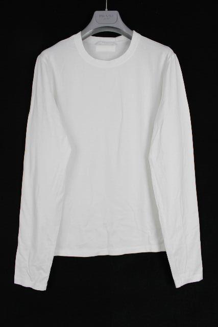 プラダ [ PRADA ] ロゴ ストレッチ カットソー ホワイト 白 長袖 SIZE[S] メンズ ロンT ロングTシャツ