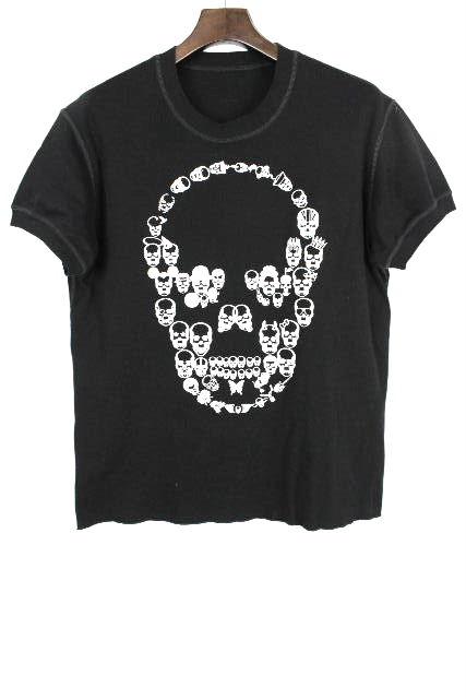 ルシアンぺラフィネ [ pellat-finet ] イタリア製 スカル プルオーバー カットソー 黒 半袖 SIZE[L] メンズ Tシャツ ぺラフィネ