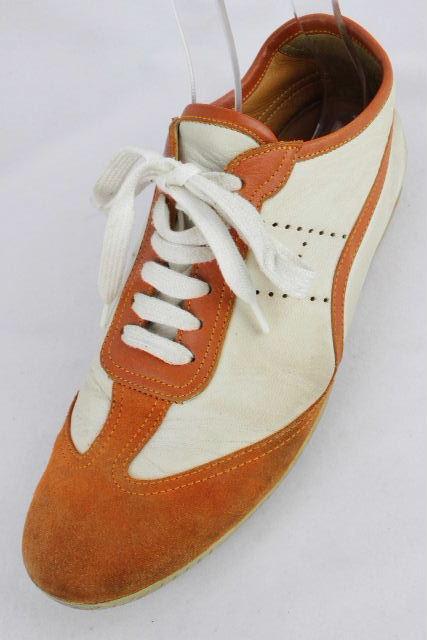 エルメス [ HERMES ] エブリン レザー スニーカー 白×オレンジ SIZE[40.5] メンズ シューズ 靴