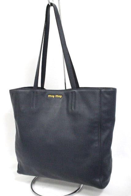 ミュウミュウ [ miumiu ] レザー トートバッグ ネイビー 紺色 レディース ショルダーバッグ バッグ