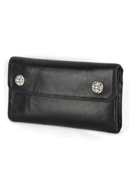 クロムハーツ [ ChromeHearts ] ウェーブウォレット クロスボタン ブラック 黒 メンズ レディース クロム 長財布