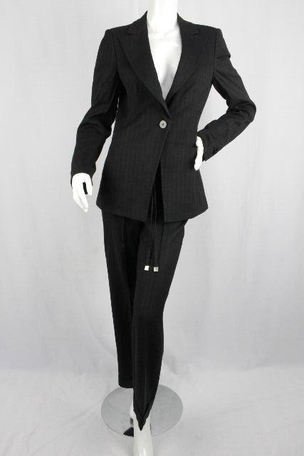 アルマーニ [ ARMANI ] リネン ワイドパンツ セットアップ スーツ 黒 SIZE[42] レディース ジャケット ボトムス 麻