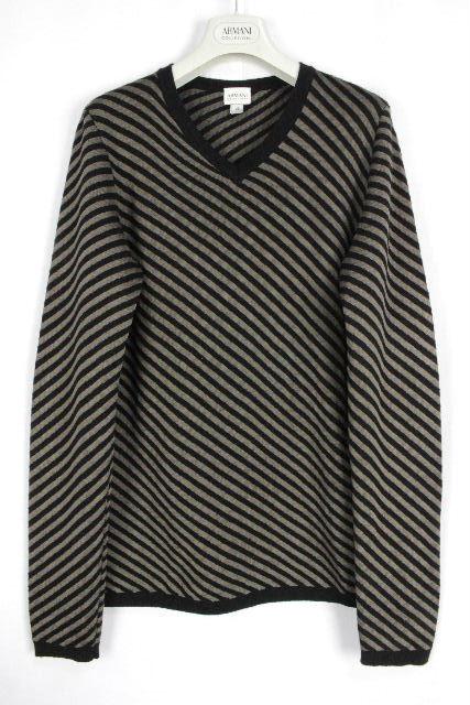 アルマーニ [ ARMANI ] ストライプ柄 Vネック ニット セーター 黒 長袖 SIZE[46] メンズ トップス