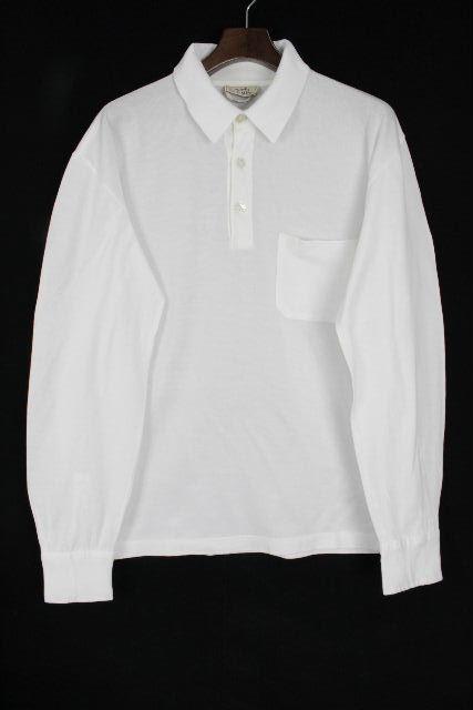 エルメス [ HERMES ] Hロゴ刺繡 鹿の子 ポロシャツ ホワイト 白 長袖 SIZE[L] メンズ トップス カットソー