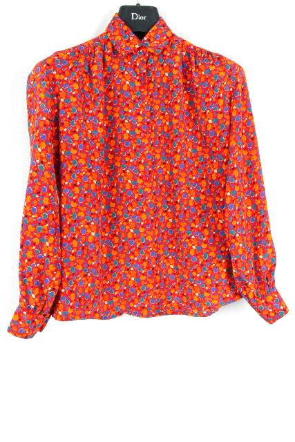 クリスチャンディオール [ Dior ] ヴィンテージ リボン ブラウス レッド 赤系 長袖 SIZE[S] レディース ディオールトップス シャツ 長袖
