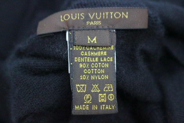 ルイヴィトン [ LOUISVUITTON ] モノグラム レース カシミヤ ニットセーター 黒 SIZE[M] レディース トップス ブラック 長袖