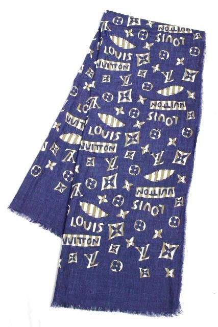 ルイヴィトン [ LOUISVUITTON ] モノグラム柄 リネン ストール ショール ネイビー 紺色 メンズ 男性用 麻 ヴィトン ビトン