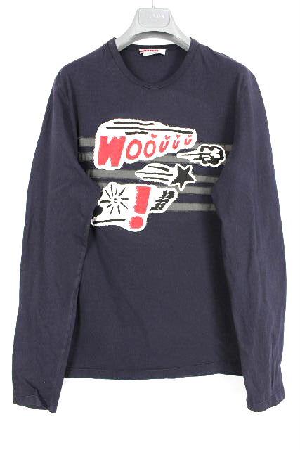 プラダスポーツ [ PRADA ] ワッペン カットソー 長袖 ネイビー 紺色 SIZE[S] メンズ プラダ トップス ロンT ロングTシャツ
