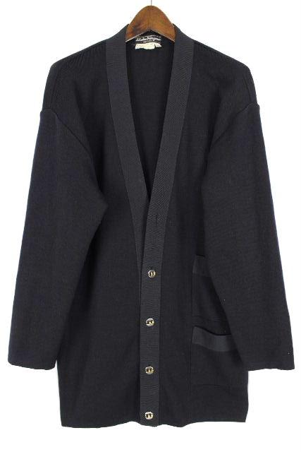 フェラガモ [ Ferragamo ] ニット ジャケット ネイビー 紺色 長袖 SIZE[S] レディース ロングカーディガン コート