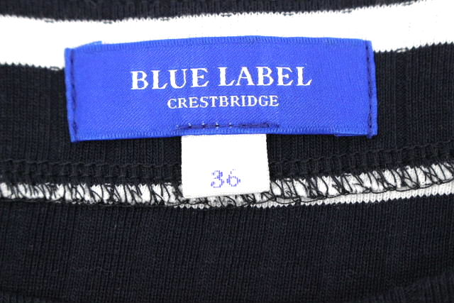 ブルーレーベル クレストブリッジ [ BLUE LABEL ] ボーダー レース フレアー ワンピース ネイビー 紺 SIZE[36] レディース ワンピ