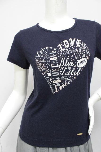 ブルーレーベル クレストブリッジ [ BLUE LABEL ] セキネショウゴ コラボ LOVE Tシャツ 紺色 半袖 SIZE[38] レディース トップス カットソー