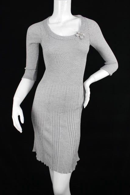 クリスチャンディオール [ Christian Dior ] リボン ニット ワンピース グレー ディオール フレアーワンピース ワンピ