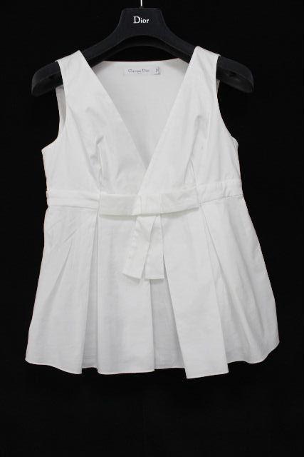 クリスチャンディオール [ Christian Dior ] リボン プルオーバ ブラウス ホワイト 白 レディース ディオールトップス ノースリーブ シャツ