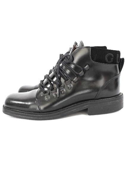グッチ [ GUCCI ] ロゴ エナメル マウンテンブーツ ブラック 黒 SIZE[6] レディース ショートブーツ