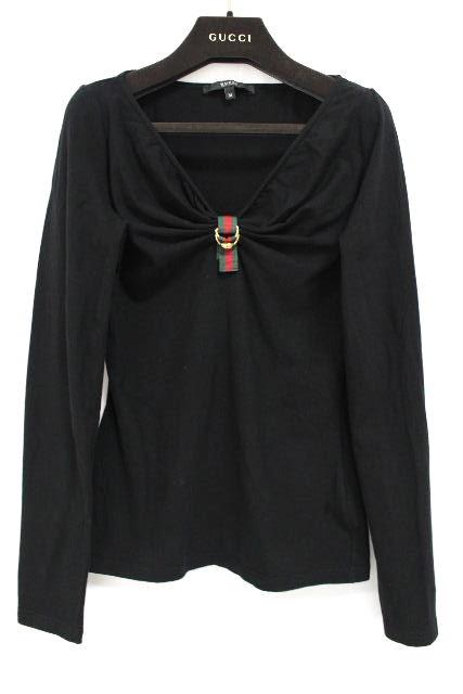 グッチ [ GUCCI ] シャリーライン リボン カットソー 黒 長袖 SIZE[M] レディース トップス ロンT ロングTシャツ ブラック