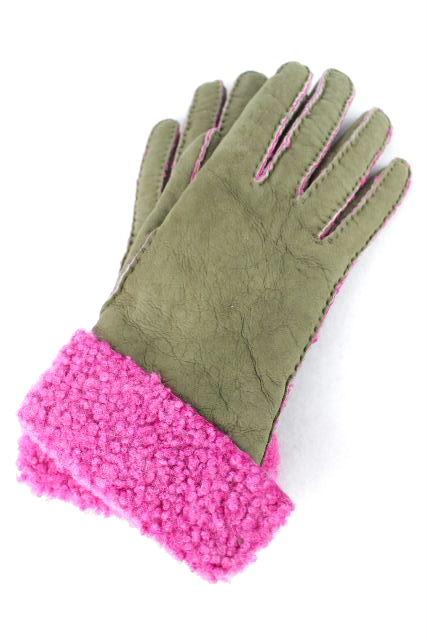 エルメス [ HERMES ] バイカラー ムートングローブ SIZE[6.5] レディース レザー 手袋