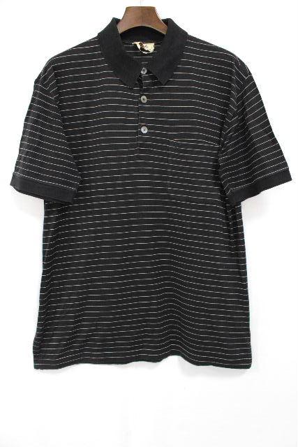 エルメス [ HERMES ] Hロゴ刺繡 ボーダー ポロシャツ ブラック 黒 半袖 SIZE[xl] メンズ トップス カットソー