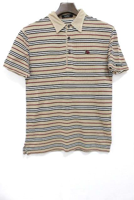 バーバリーブラックレーベル [ BURBERRY ] ボーダー ポロシャツ ベージュ 半袖 SIZE[2] メンズ バーバリー トップス カットソー