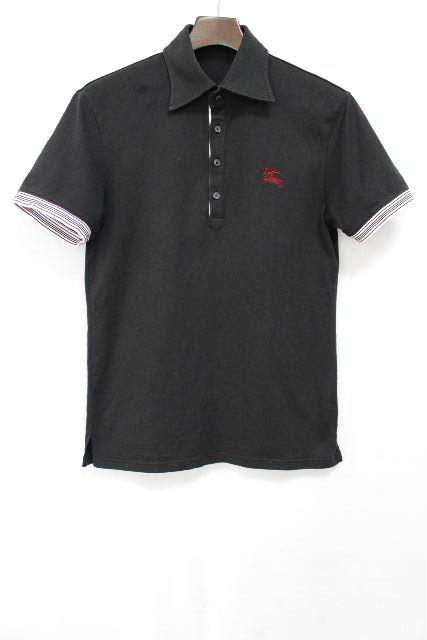 バーバリーブラックレーベル [ Burberry ] ホースマーク ボーダー ポロシャツ 黒 半袖 SIZE[2] メンズ バーバリー トップス カットソー