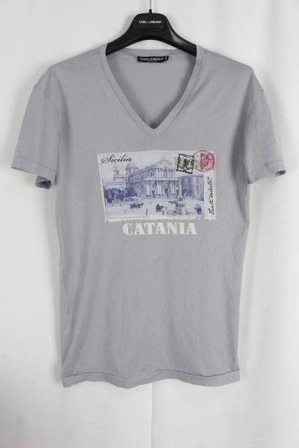 ドルチェ&ガッバーナ [ DOLCE&GABBANA ] CATANIA Vネック Tシャツ 半袖 パープル系 SIZE[44] メンズ トップス カットソー ドルガバ