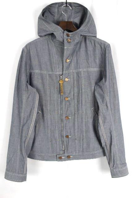 ディーゼル [ EXTRA DIESEL ] 刺繡 デニムジャケット パーカー ブルー SIZE[L] メンズ シャツ ジャケット ジージャン Gジャン
