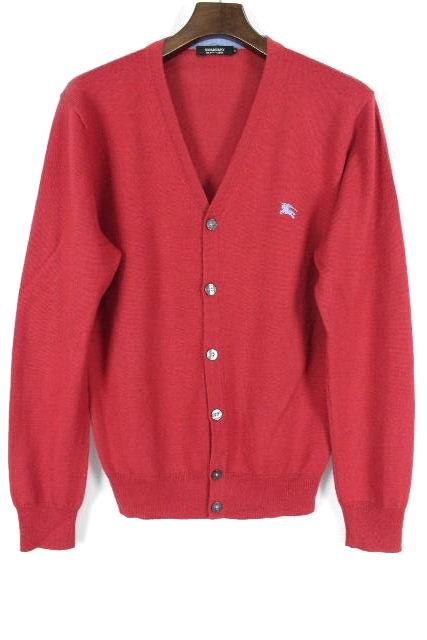 バーバリーブラックレーベル [ Burberry ] ホースマーク ニット カーディガン レッド 赤 長袖 SIZE[2] メンズ トップス セーター カーデ