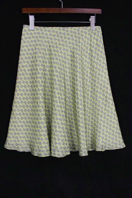 ハロッズ [ Harrods ] リーフ柄 シルク フレアースカート グリーン SIZE[2] レディース ボトムス スカート