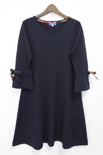 ブルーレーベル クレストブリッジ [ BLUE LABEL ] リボン ニット ワンピース ネイビー 紺色 SIZE[38] レディース ワンピ チェック柄