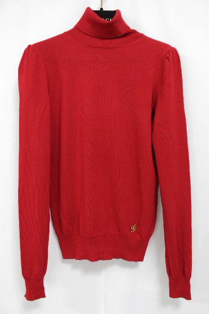 グッチ [ GUCCI ] Gロゴチャーム ハイネック ニットセーター 赤 長袖 SIZE[S] レディース トップス